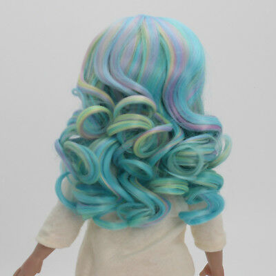 Colorful Long Wavy Curly Wig for 18inch American Doll DIY Making Accessory