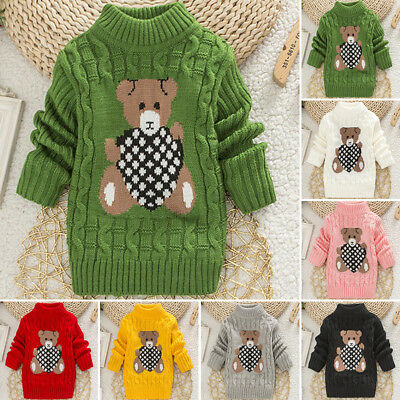 Baby Kids Boys Loose Baggy Knitted Sweater Toddler Cute Bear Pattern Jumper Tops