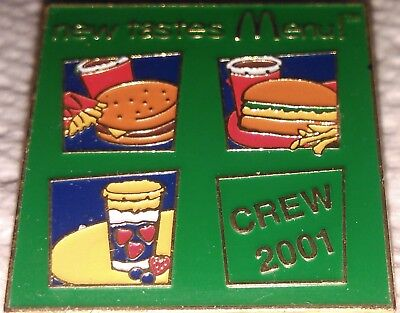 McDonald's collectible lapel hat employee pin New Tastes Menu! CREW 2001