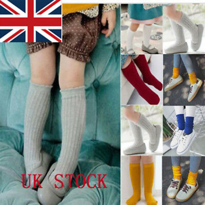 UK Kids Baby Girl Boy Toddler Cotton Knee Warm High Socks Solid Long Stocking AR