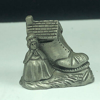 PEWTER MINIATURE FIGURINE vintage vtg old lady shoe fairy tales signed house usa
