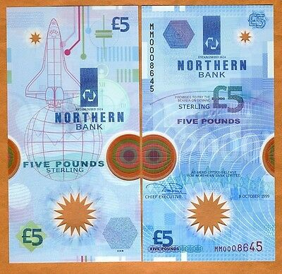 Ireland Northern Bank, 5 pounds, 1999, P-203a, POLYMER, UNC