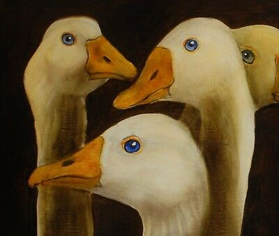 GEESE : ORIGINAL OIL PAINTING : Poultry Goose Bird Art by David Andrews