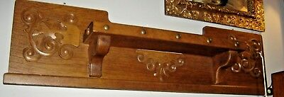 Antique Large Quarter-Sawn Oak Shelf with applied carving 8046