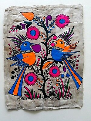 """Mexican Amate Bark Painting Folk Art Mexico, approx. 10 """" x 13"""""""