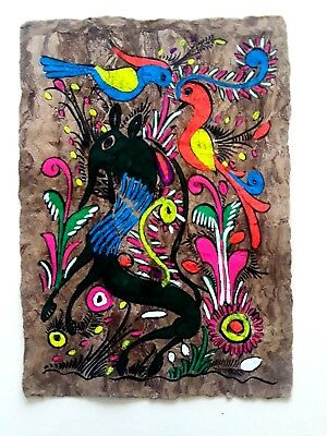 """Mexican Amate Bark Painting Folk Art, Mexico, approx. 9 1/2"""" x 13"""""""