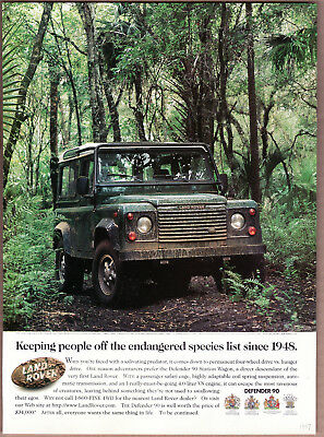 "1997 Land Rover Defender 90 Ad ""Keeping people...."" Print Ad"