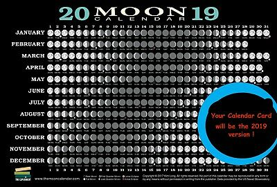 New 2019 Moon Phase Calendar Card  Phases Perigee Apogee Lunar Eclipse Time Zone