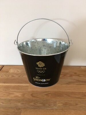 Strongbow Black Metal Ice Bucket Party Drink Holder Cooler Home Bar Pub 5 Cans