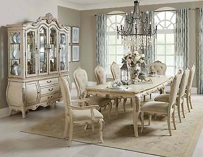 Exquisite Antique Grey 9 Pc Formal Dining Table Chairs Diningroom Furniture Set