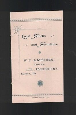 Local Stocks & Securities Rochester NY Booklet 1889 Genesee Brewery Bartholomay