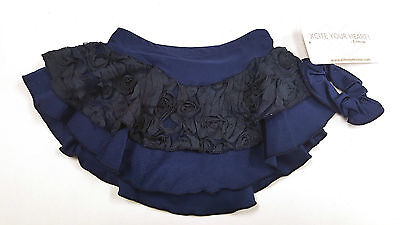 New Skating Dress Navy Flowers Ribbons Double Layer Elite Xpression CXL 12-14