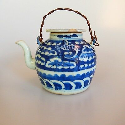 Chinese Blue White Small Teapot Wire Handle 19th Century