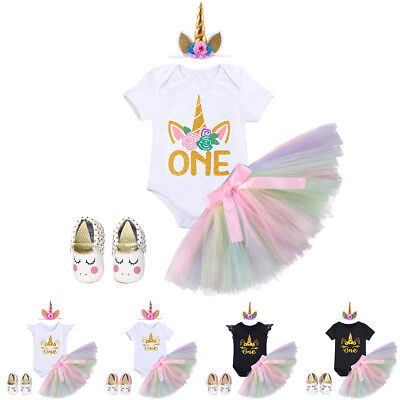 Newborn Baby Girl Unicorn Princess Costume 1st Birthday Party Pastel 4PCS Outfit