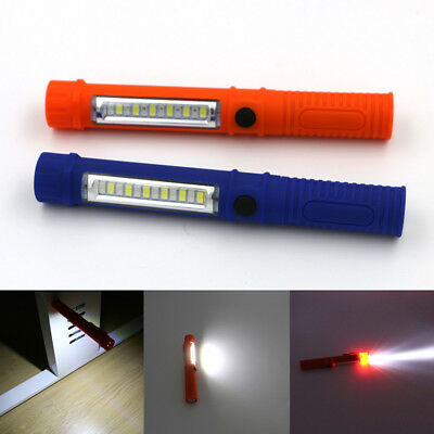 COB LED Pocket Pen Light Inspection Work Lamp USB Torch Flashlight With Clip