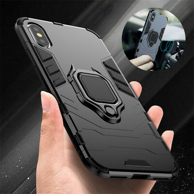 For iPhone X 8 7 6 XS XR Case Cover Hybrid Heavy Duty Magnetic Stand Rubber Hard