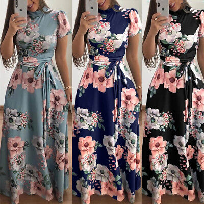 Womens Lady Autumn Slim Fit Short Sleeve Floral Maxi Dress Long Sundress Holiday