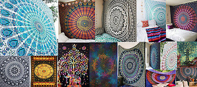 Indian Tapestry Wall Hanging Mandala Handmade Throw Bedspread Bohemian Cover