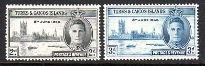 1946 TURKS & CAICOS ISLANDS VICTORY SG206-207 mint unhinged