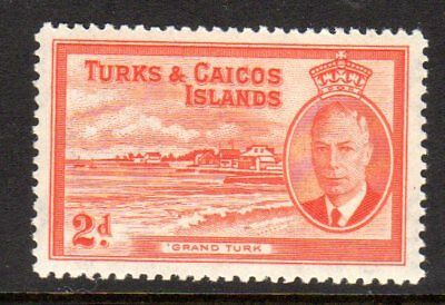 1950 TURKS & CAICOS ISLANDS 2d Grand Turk SG224 mint unhinged
