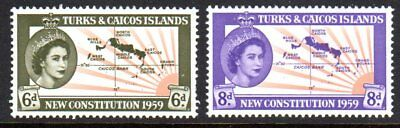 1959 TURKS & CAICOS ISLANDS NEW CONSTITUTION SG251-252 mint unhinged
