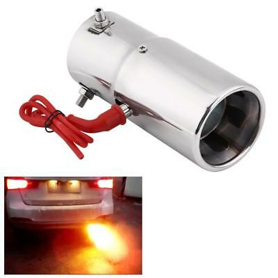 30-63mm Universal Stainless Steel Car LED Red Light Tail Exhaust Pipe Straight N