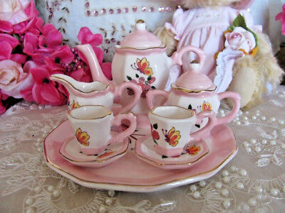 Miniature Vintage Look Ceramic Butterfly Tea Set ~ Collectable ~ Gift ~ Country