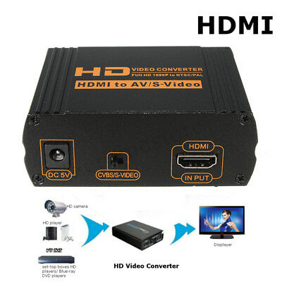 HD 1080p HDMI to RCA AV CVBS Composite R/L Audio S-Video HDCP Converter Adapter