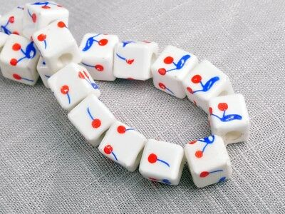 NEW 10pcs 10mm Cube Square Ceramic Spacer Loose Beads Flowers Pattern #21