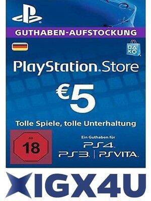 PSN Playstation Network Card Key 5€ 5 EUR EURO Prepaid Card - PS3 PS4 PSP - DE
