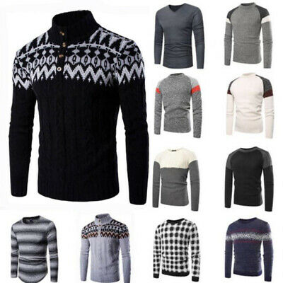 Men Round Neck Knit Sweater Pullover Knitwear Coat Tops Mens Blouse Top