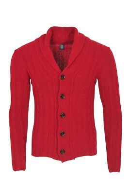 Eleventy Cardigan Men's M Red Cotton  Slim Fit Twill