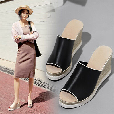 New Womens Ladies Wedge Heels Mule Sandals Pumps Peep Toe Platform Casual Shoes