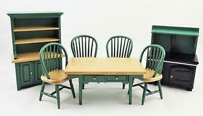 Dolls House Hunter Green Kitchen Dining Furniture Set Wooden 1:12 Scale