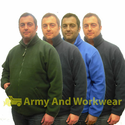 New Mens Fleece Jacket Full Zip Plain Thermal Outdoor Anti Pill Bird Watching