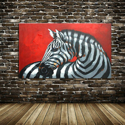 CHOP739 hand painted rare animal abstract zebra horse oil painting art canvas