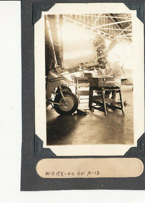 1939 US Army Soldier's Hawaii Photo working on A-12 airplane, hanger at Hickam?
