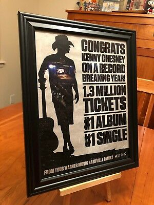 """3 BIG 10x13 FRAMED KENNY CHESNEY """"SONGS FOR THE SAINTS"""" LP CD & TOUR PROMO ADS"""