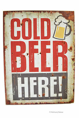 "16"" Large Wood Distressed Vintage Cold Beer Here Bar Decor Wall Art Sign Plaque"