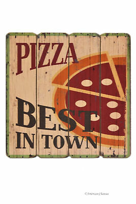 "16"" Large Wood Distressed Vintage Best Pizza In Town Decor Wall Sign Plaque"