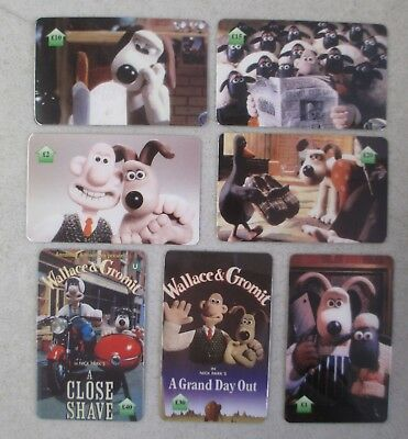 Lot Of 7 Wallace & Gromit Empty Uk Calling Cards - A Close Shave Grand Day Out