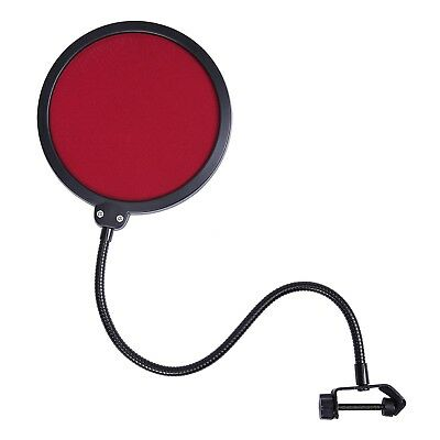 Pop Filter Shield Studio Microphone w/Stand Clip for Blue Yeti Microphones (Red)