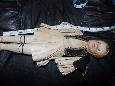 Vintage/Antique fabric Early Greek Doll hand painted face  - Greece Tsolias