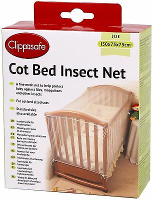 Clippasafe Cot Bed Insect Net Mesh Baby Child Kids Nursery Safety Proofing -BN