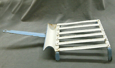 Vintage Enamelware Handled Meat Griddle French Blue and White RARE