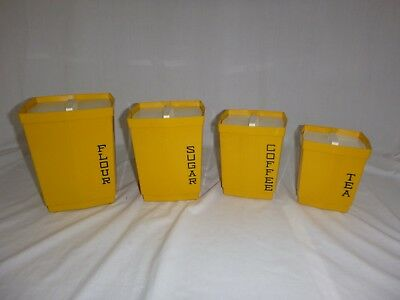 Vtg Mid Century Max Klein Kitchen Canisters Set 4 Nesting Boxes Gold Yellow