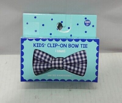 Kids Clip on Bowtie1 Light blue and 1 plaid white and blue Lot of 2