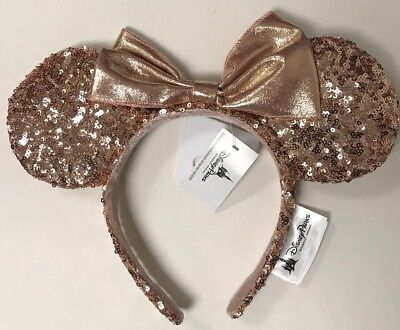 Disneyland Park Rose Gold Minnie Mouse Ears Hat Sequined Disney Headband NWT