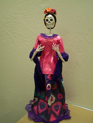 FRIDA! Day of the Dead Papier Mache Skeleton Frida Kahlo, Hot Pink Shawl, Mexico