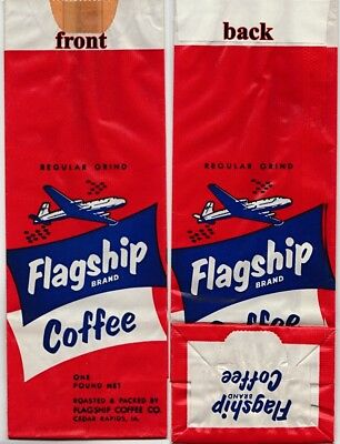 VINTAGE FLAGSHIP COFFEE BAG  ADVERTISING with AIRPLANE GRAPHICS CIRCA 1940's
